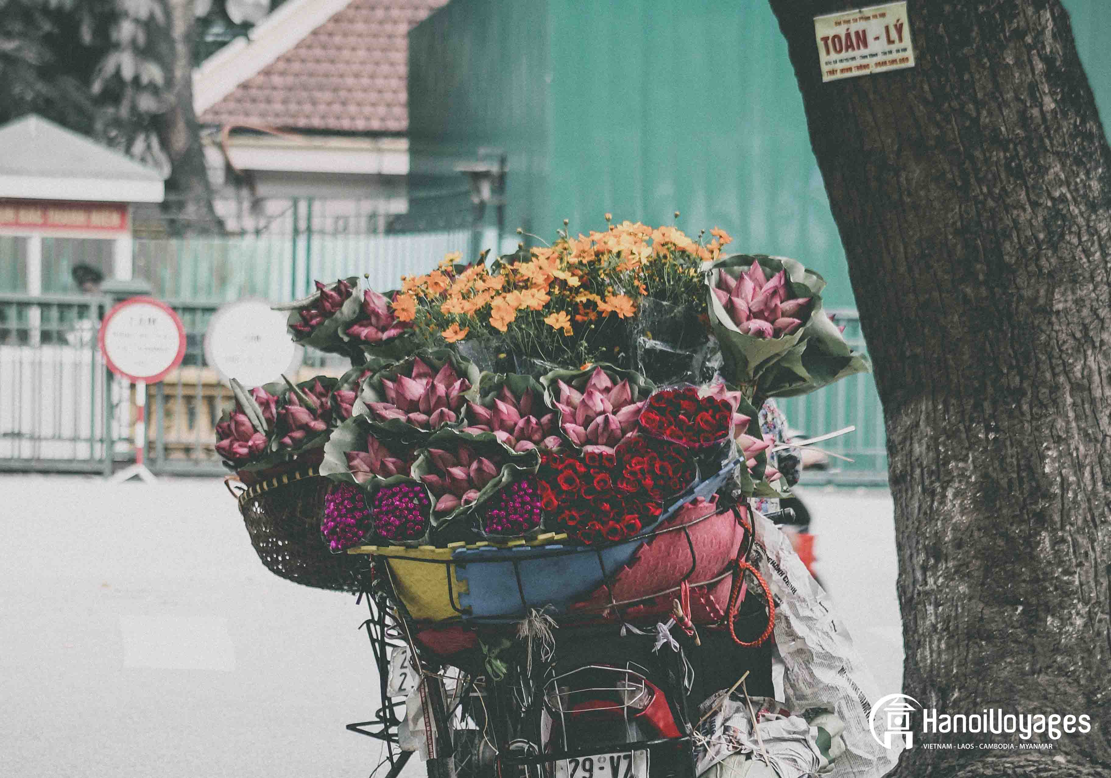Plateau chargé de fleurs Hanoï - Âme du Vietnam