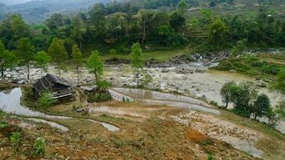 Cabane d'un paysan, propriétaire des champs de riz, aux alentours de Sapa.